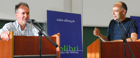 Vortrag: Links Sebastian Schoepp, rechts Prof. Sebastian Lessenich