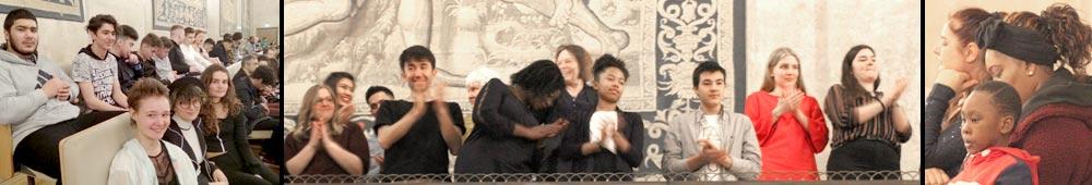 Jugendliche Zuhörer*innen beim Kolibri-Benefizkonzert der Neuen Philharmonie München